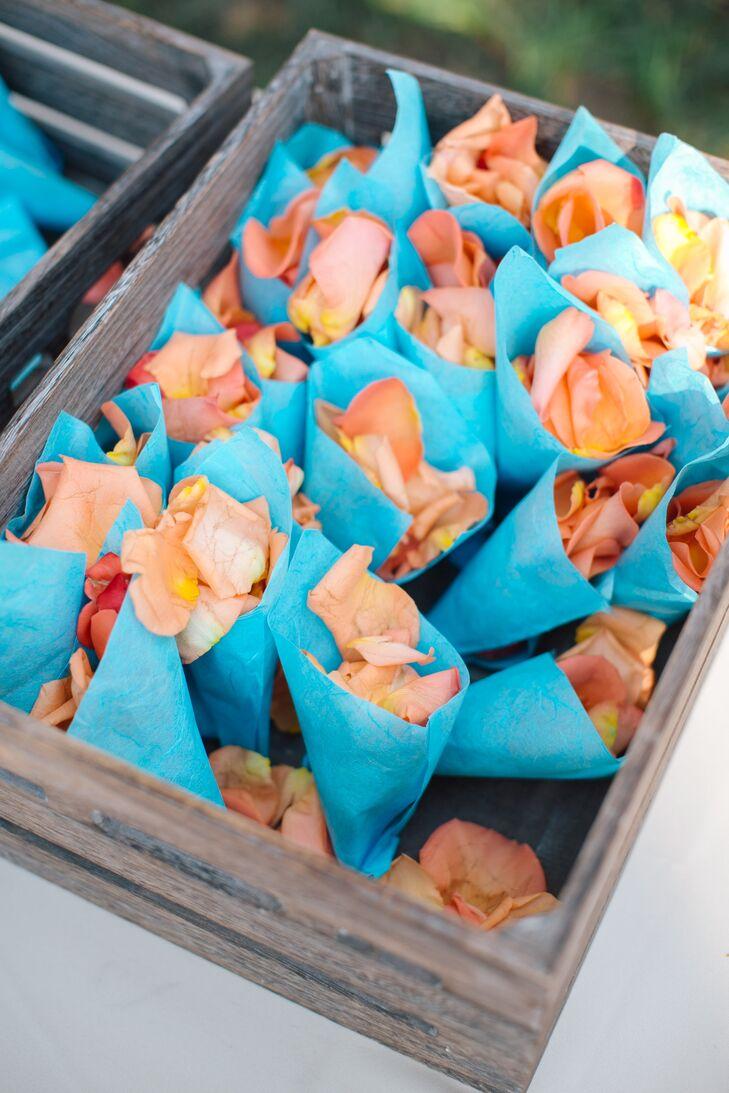 Peach Rose Petals in Turquoise Cones