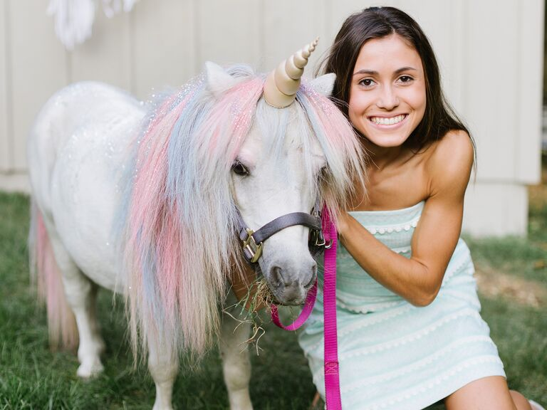 Unicorn petting zoo at a Virginia wedding