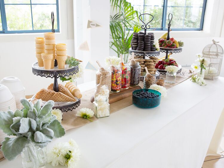 Make-your-own sundae bar at an indoor reception