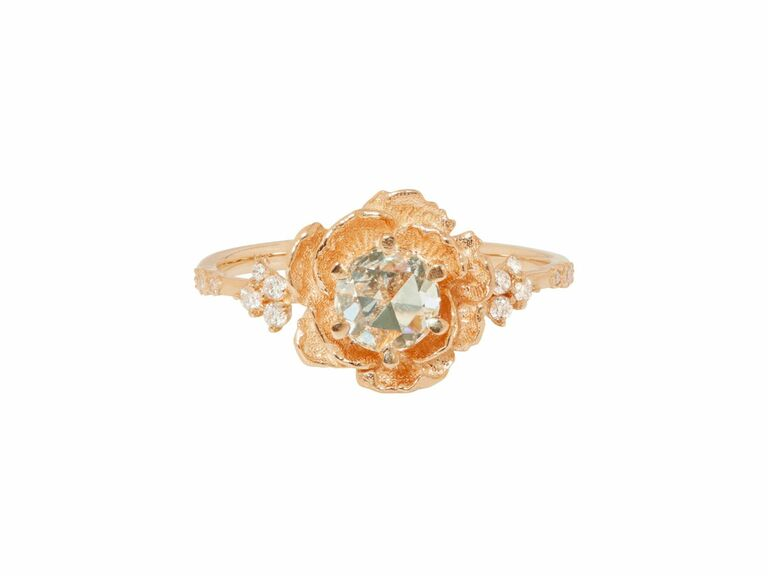 diamond ring with rose setting in 14K rose gold