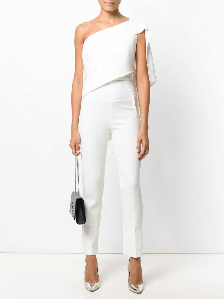 Roland Mouret asymmetric tailored jumpsuit - bridal jumpsuits
