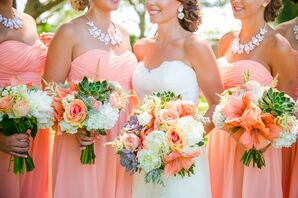 Peach Bridesmaid Dress With Statement Necklace