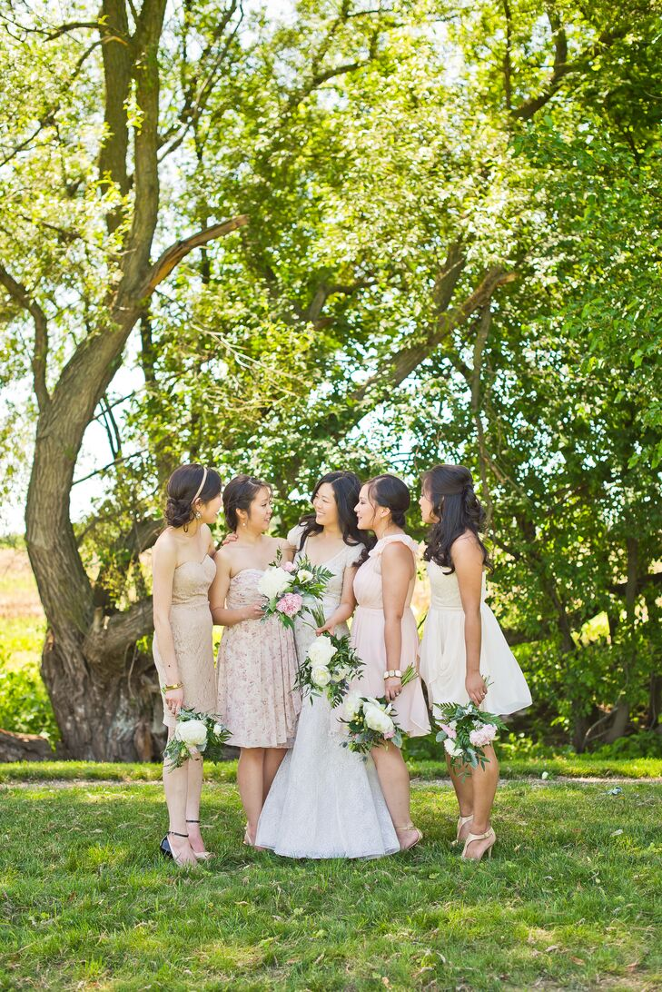 """Wanting her bridesmaids to be comfortable, Jo allowed them to choose their own dresses within a specific pastel color range. The result: mismatched lace and chiffon details that worked seamlessly together. """"It all turned out perfect,"""" Jo says."""