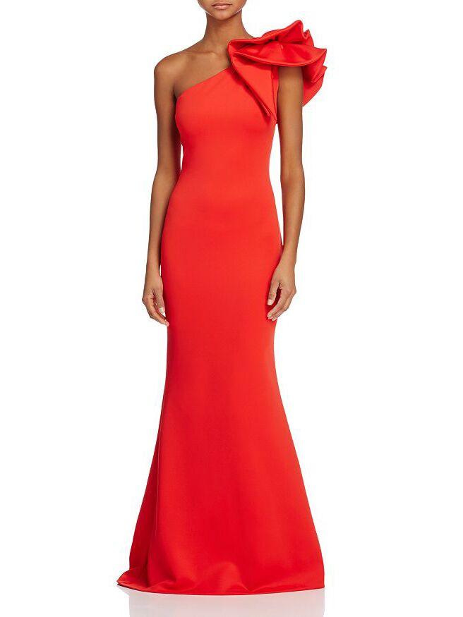 Aqua one-shoulder scuba gown