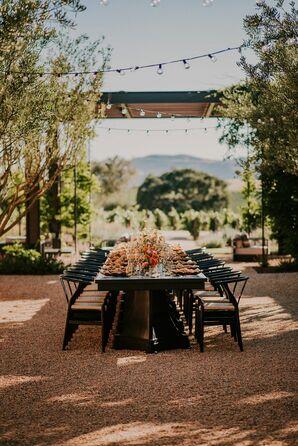 Simple Black Reception Table at Dos Pueblos Orchid Farm in Goleta, California