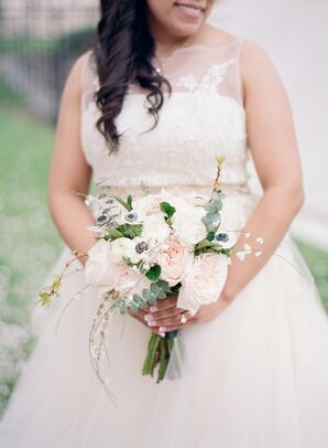 Romantic Bouquet with Blush Garden Roses, Anemones and Ranunculus