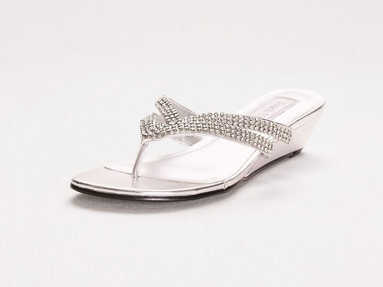 Touch Ups Tango low wedge crystal flip-flop sandals