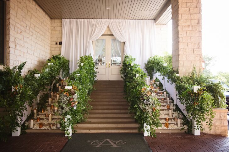 Succulent, Greenery, Candle Exit Staircase