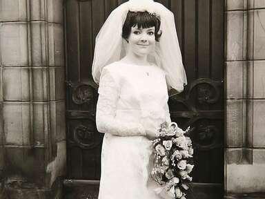 Old wedding photo of classic lace wedding dress