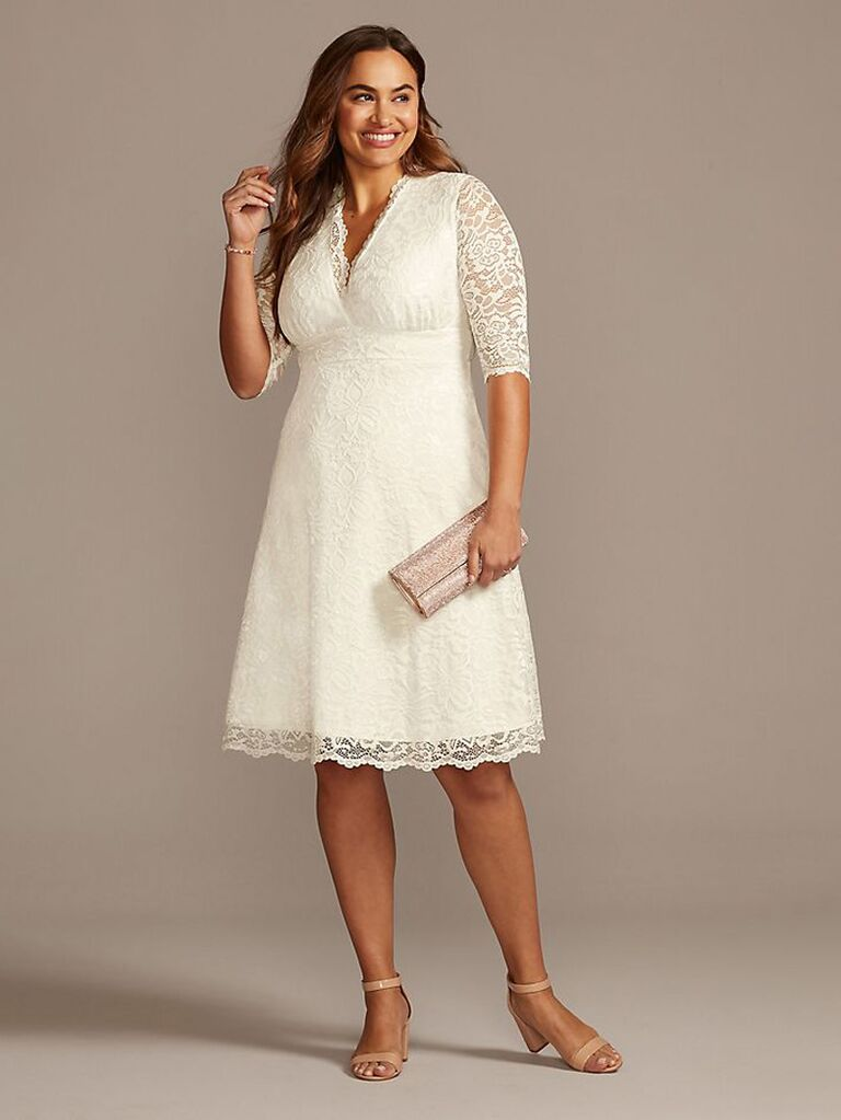 Short lace second marriage wedding dress