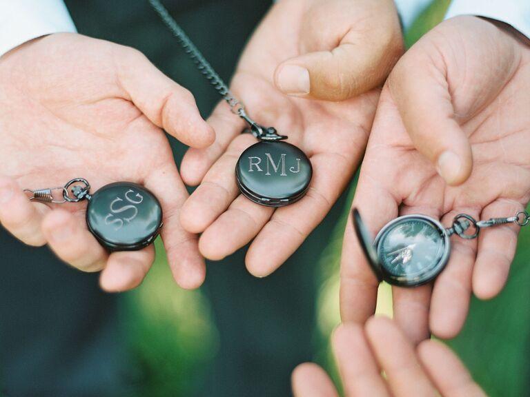 Personalized pocket watch groomsmen gifts