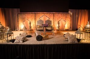 Glam Gold Punjabi-Style Sweetheart Table and Backdrop