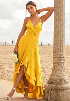 Lulus In Love Forever Mustard Yellow Satin Lace-Up High-Low Maxi Dress V-Neck Bridesmaid Dress