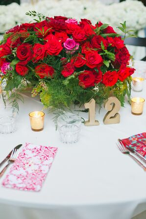 Red, Pink and Gold Table Settings