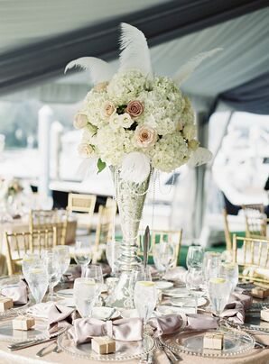 Feather and Pearl-Trimmed Hydrangea Centerpieces