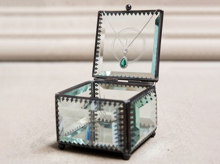 Vintage-inspired glass jewelry box third anniversary gift idea