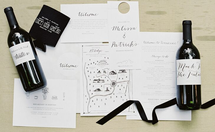 Modern Script Invitations with Custom Map