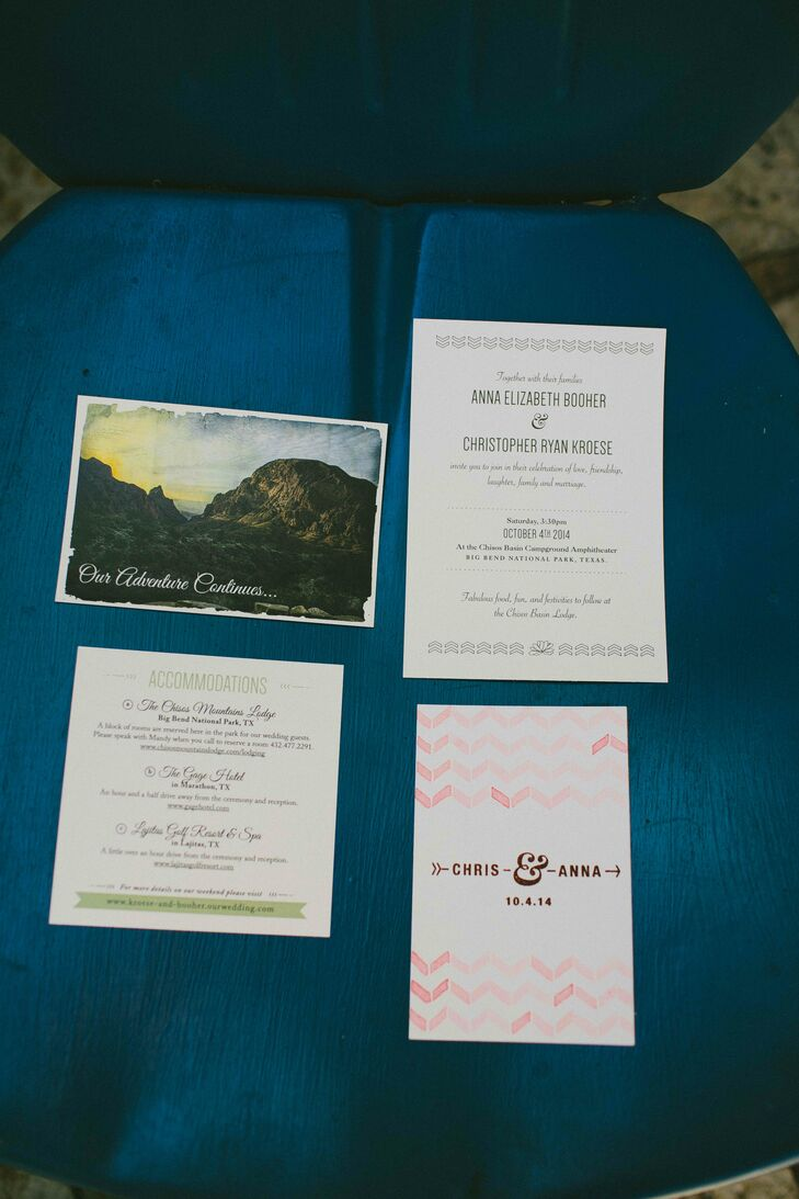One of Anna's bridesmaids volunteered to make all the paper products. The DIY watercolor details and Big Bend photo on the save-the-dates tied into the natural wedding style.