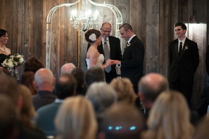The couple exchanged vows in the barn at Kelley Farm in Bonney Lake, WA.