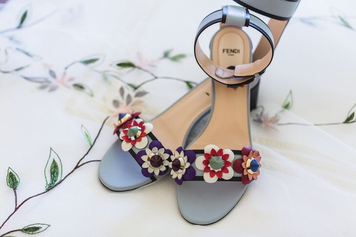 Colorful Embroidered Block Heel Pumps
