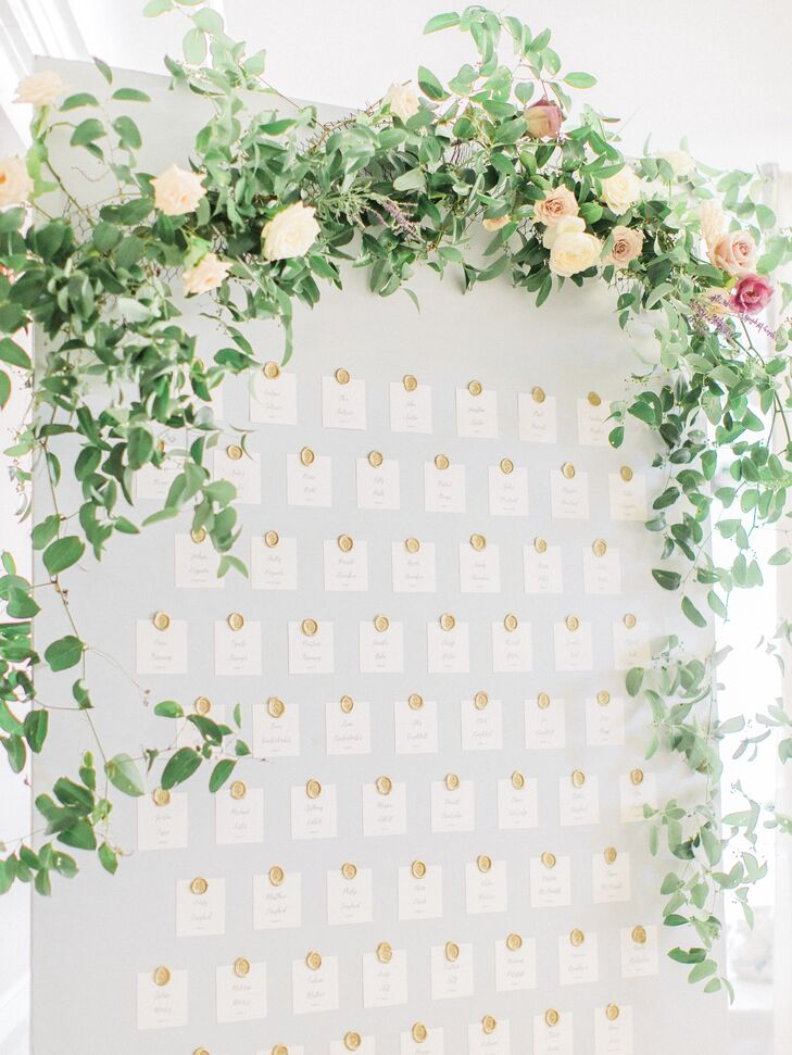 Seating Chart  Draped with Garden Roses and Greenery