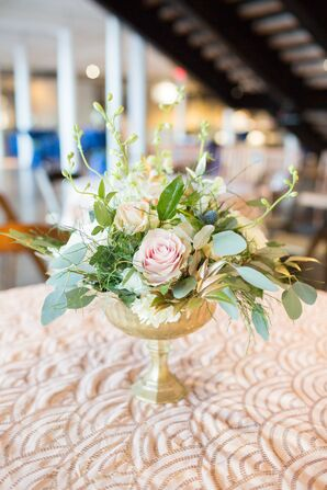 Romantic Rose and Eucalyptus Centerpiece in Gold Compote on Art Deco Table Linen