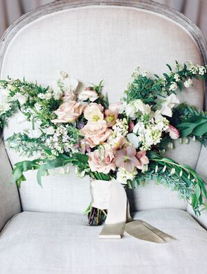 Asymmetrical Bouquet With Roses and Greenery