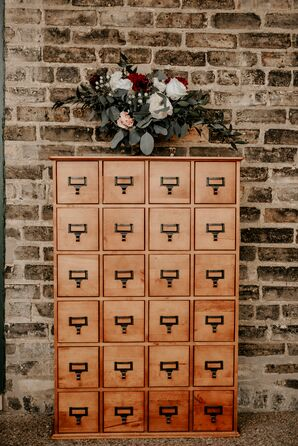 Industrial Wood Furniture with Flower Arrangement