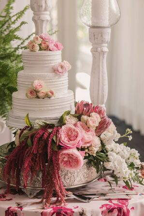 Three Tier Pink and White Wedding Cake