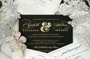 Contemporary Black and Gold Wedding Invitations