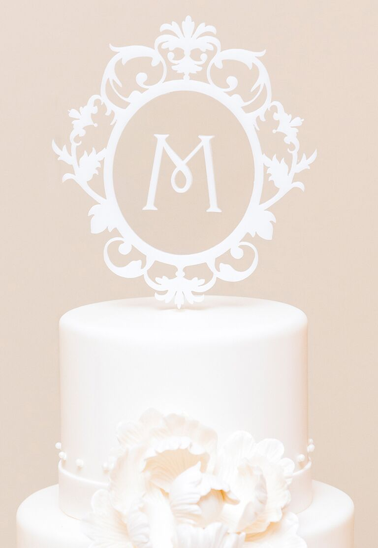 Floating cake topper monogram