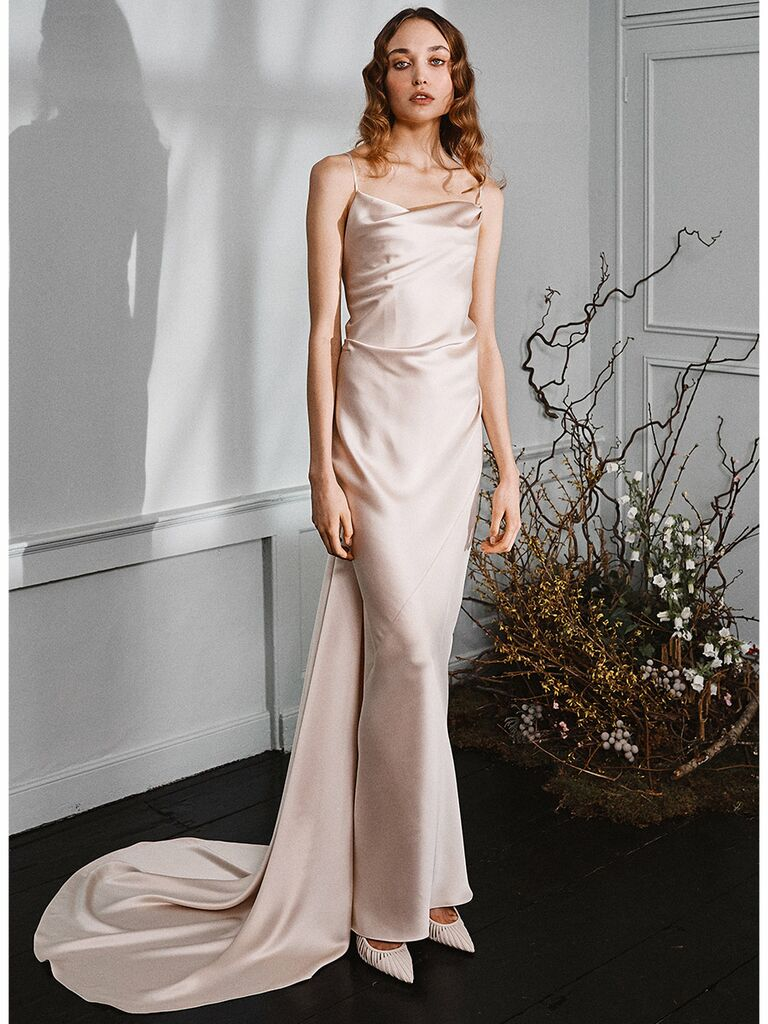 Halfpenny London wedding dress cowl-neck slip dress