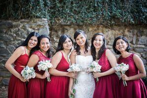 Crimson Bridesmaid Gowns