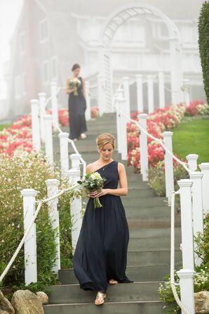One-Shoulder, Navy Chiffon Bridesmaid Dress