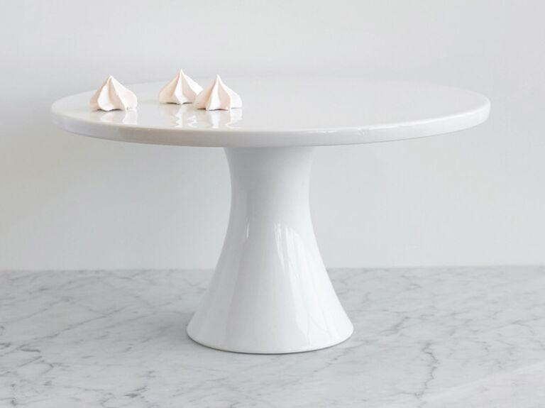 Simple white wedding cake stand