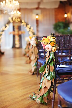 Cascading Magnolia Leaf Garland Aisle Markers