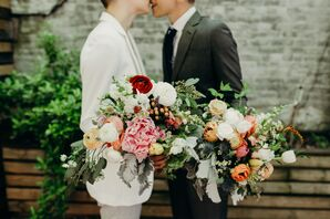 Bouquets with Mixed Greenery, Ranunculus, Peonies and Tulips