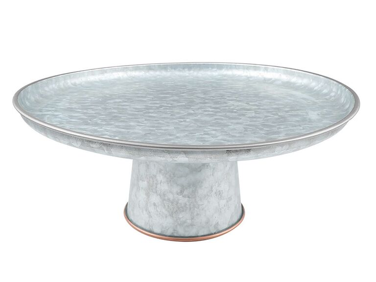 Galvanized metal and copper wedding cake stand