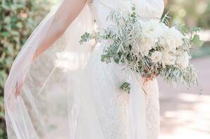 White Lisianthus, Peony and Eucalyptus Bouquet