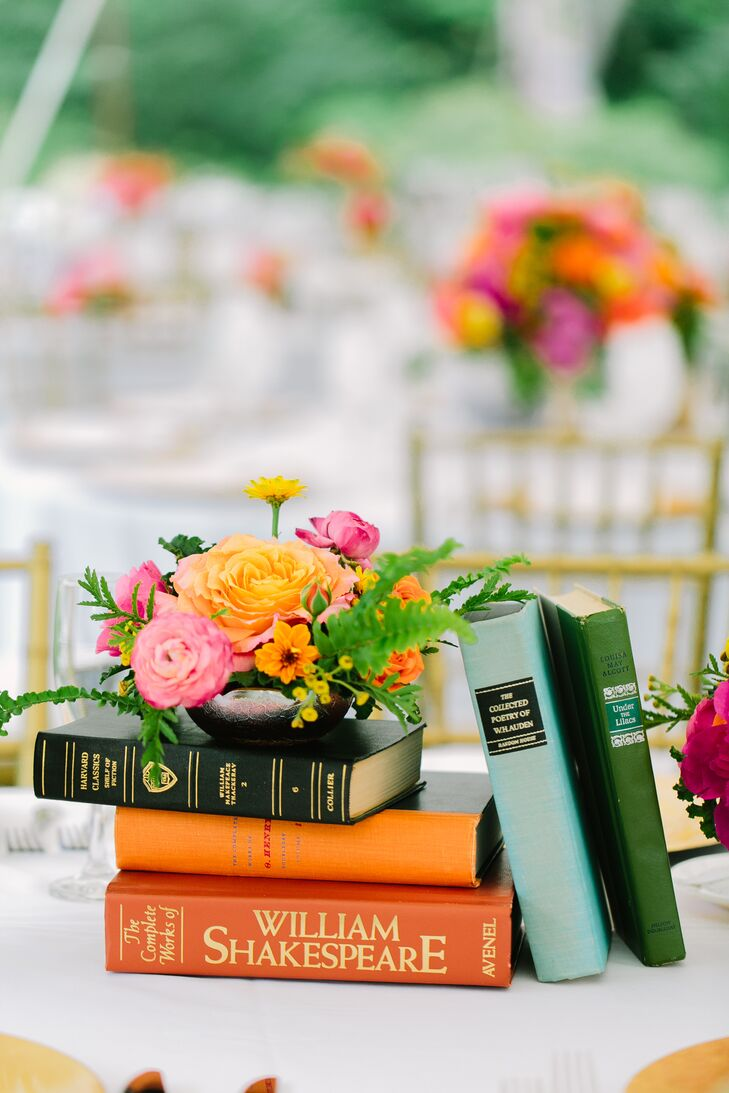 Bright, Classic Book and Flower Centerpieces