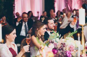 Bride and Groom Listening to Wedding Toasts