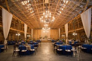 Rustic Barn Reception With Royal Blue Tables