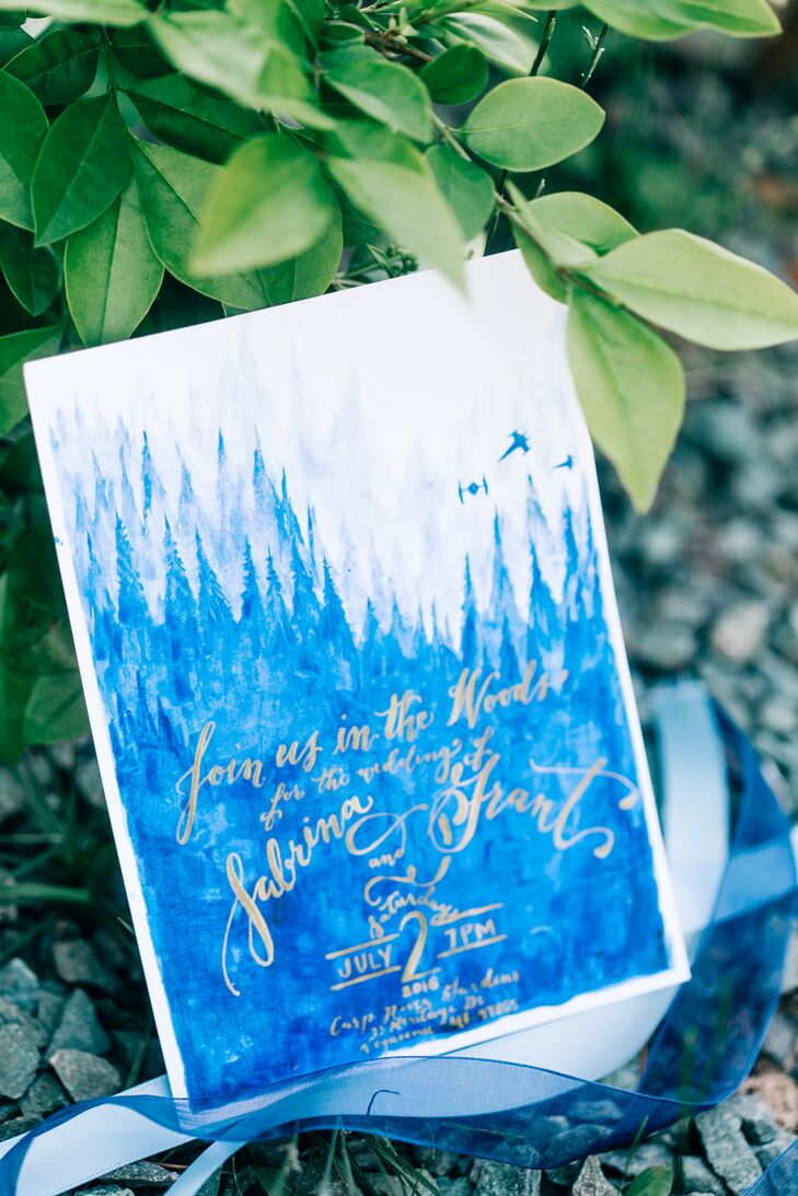 Whimsical Blue Mountain-Themed Watercolor Invitations