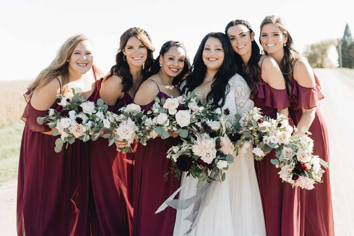 Bride and Bridesmaids with Bouquets of Eucalyptus and Roses
