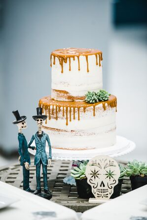 Two-Tier Naked Cake with Sugar Skull Cake Topper