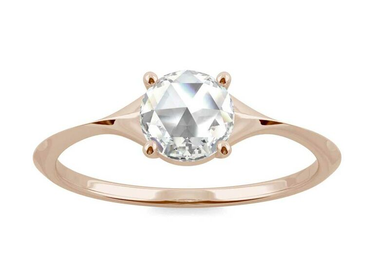 Rose-cut moissanite solitaire engagement ring