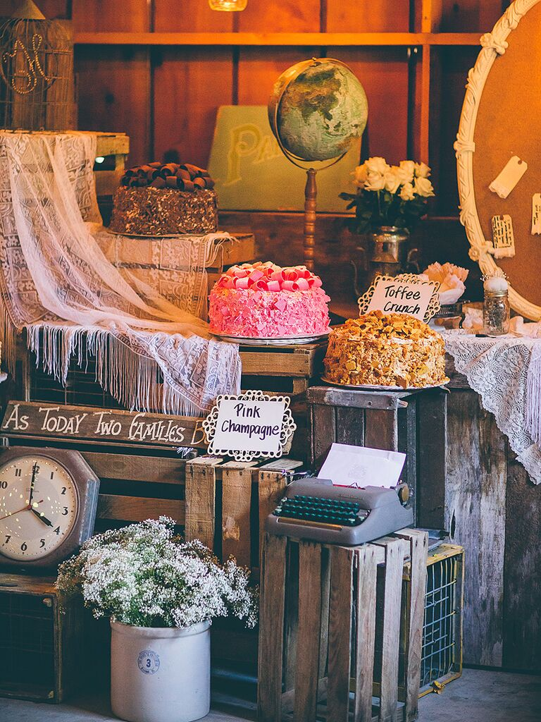 Antique wooden crate dessert table idea for a wedding reception