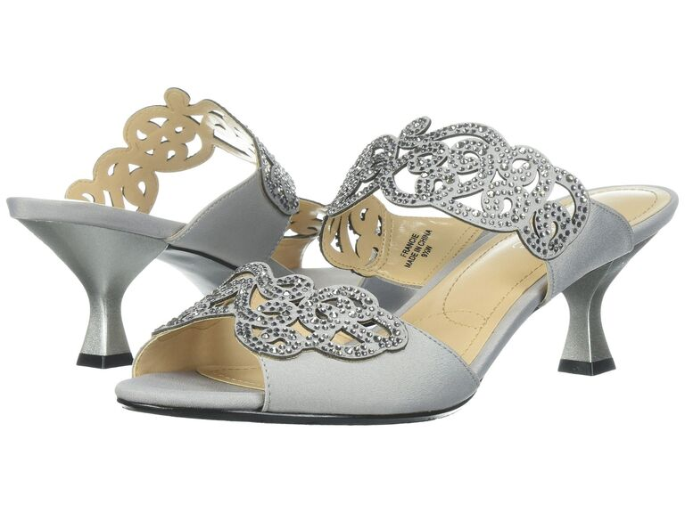Comfortable silver short wedding heels