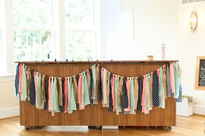 Mint, Coral, Navy and Burlap Banner on the Bar