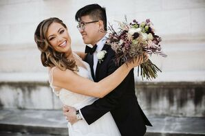 Elegant Couple with Down Hairstyle and Vintage Bouquet